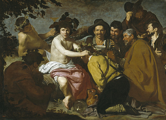 Los borrachos. Diego Velázquez.  Óleo sobre lienzo. 165 cm × 225 cm