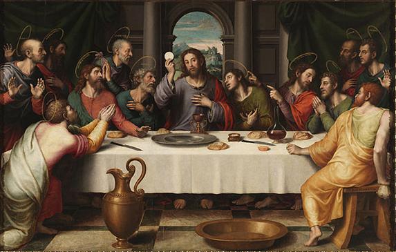 La Sagrada Cena (hacia 1562) de Juan de Juanes. Óleo sobre tabla 116 cm × 191 cm